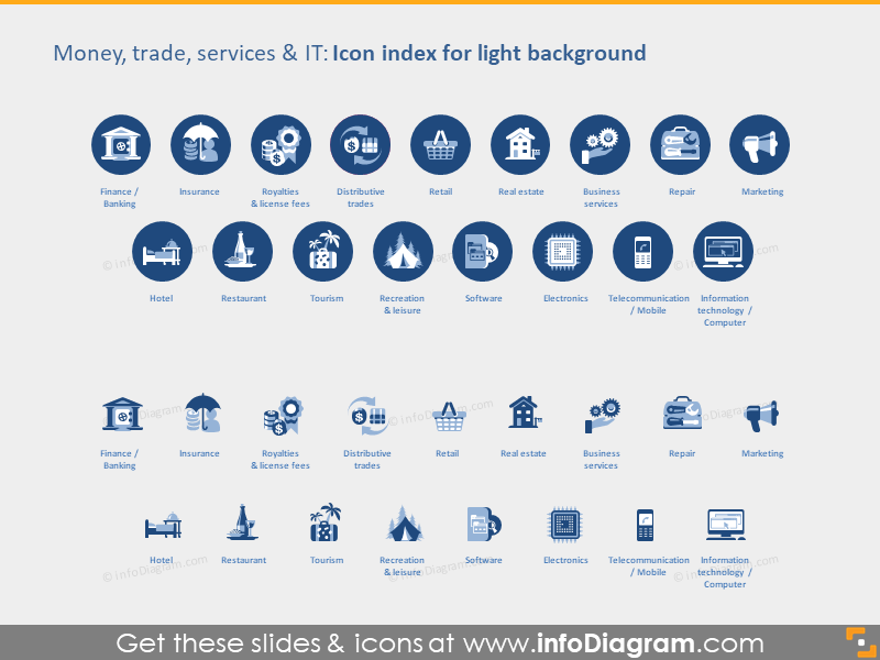 Money Industries icons light flat PPT clipart
