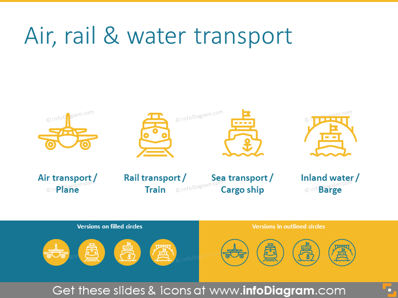 Transport icons: air, rail and water transport