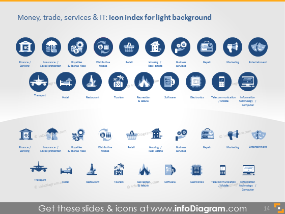 finanse trade services sectors icons dark flat ppt icons