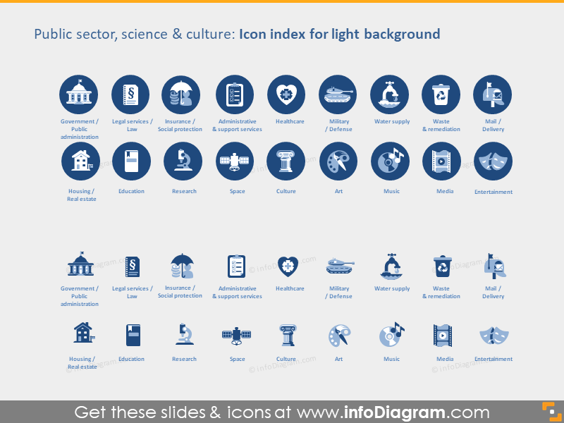 public admin sectors transport icons light flat ppt icons