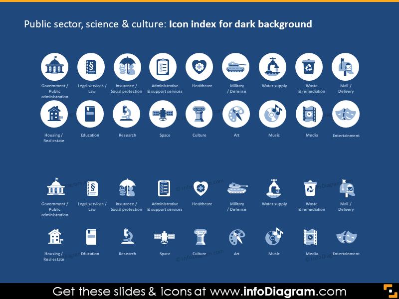 public gov sectors social services icons dark flat ppt icon