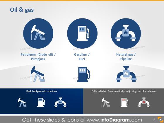 Petroleum oil gas Pumpjack fuel gasoline pipelone icon ppt