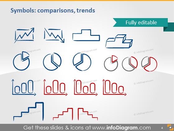 Symbols comparisons charts trends icons ppt clipart
