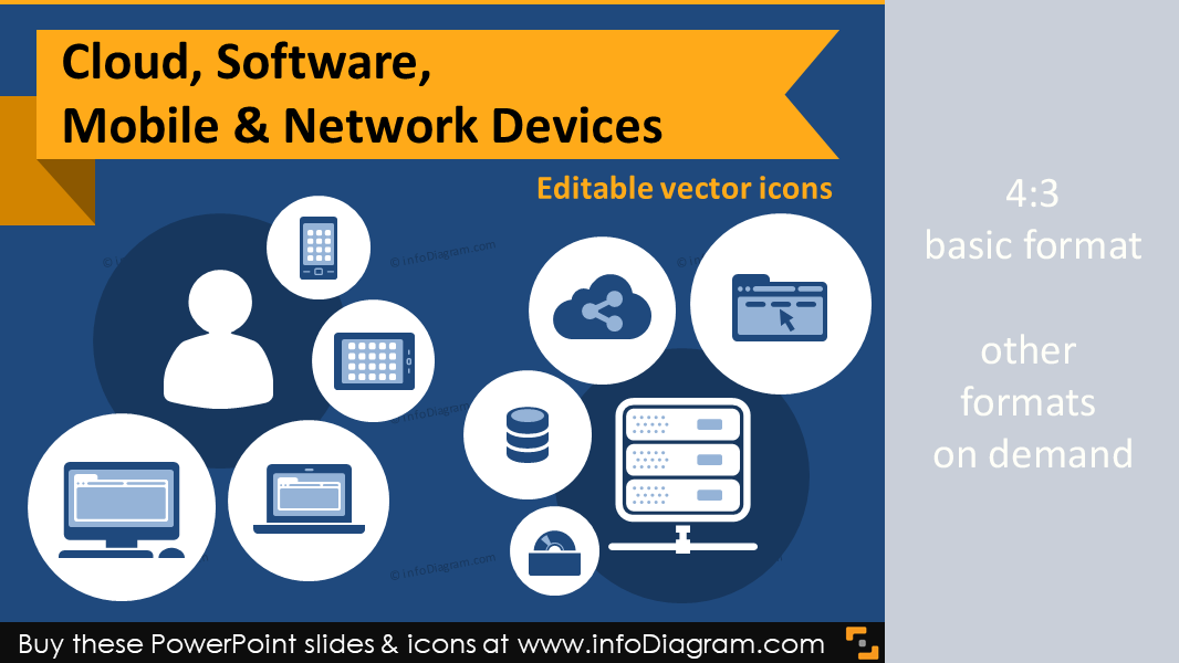 Great 24 icons in 15 slides cloud software mobile and network it icons cloud software mobile network devices flat ppt clipart ccuart Gallery