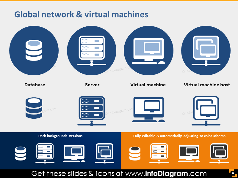 PPT icon Database Server Virtual Machine Host powerpoint clipart