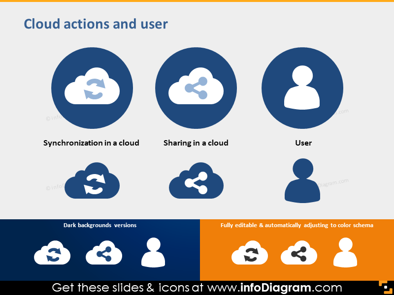 cloud synchronization and sharing simple flat user icon pptx