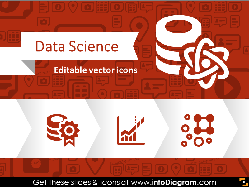 Data Science Big Data Analytics Icons (flat PPT clipart)