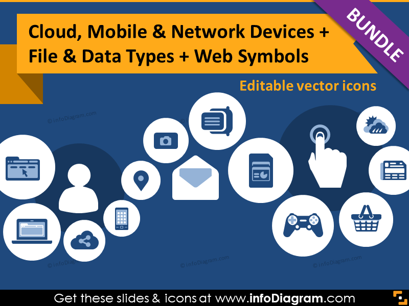 IT icons bundle: Cloud Mobile Devices, Files, Website symbols (flat PPT clipart)