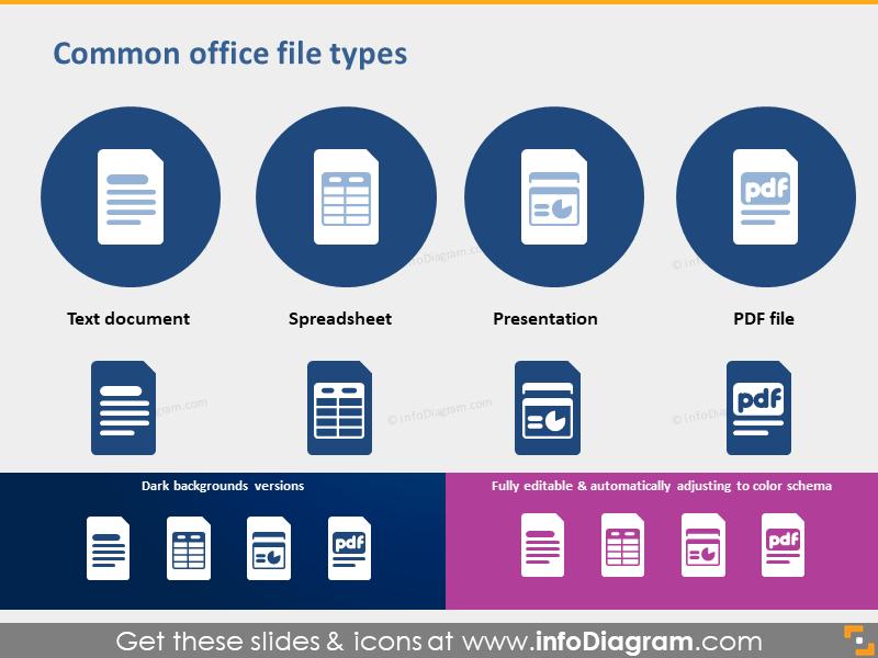 Icons Office file type spreadsheet Presentation PDF PPTX clipart