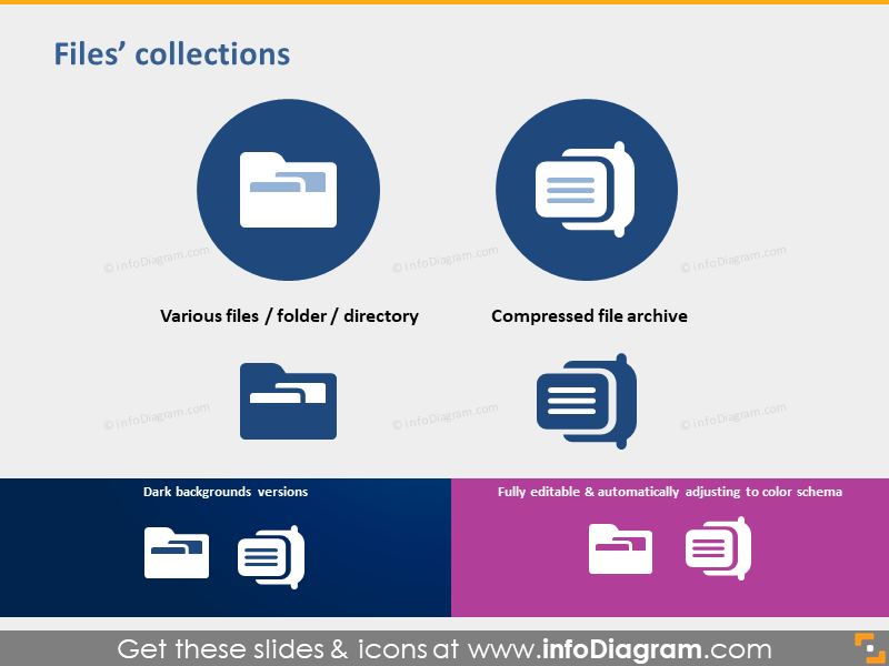 symbol file folder compressed zip archive icon ppt