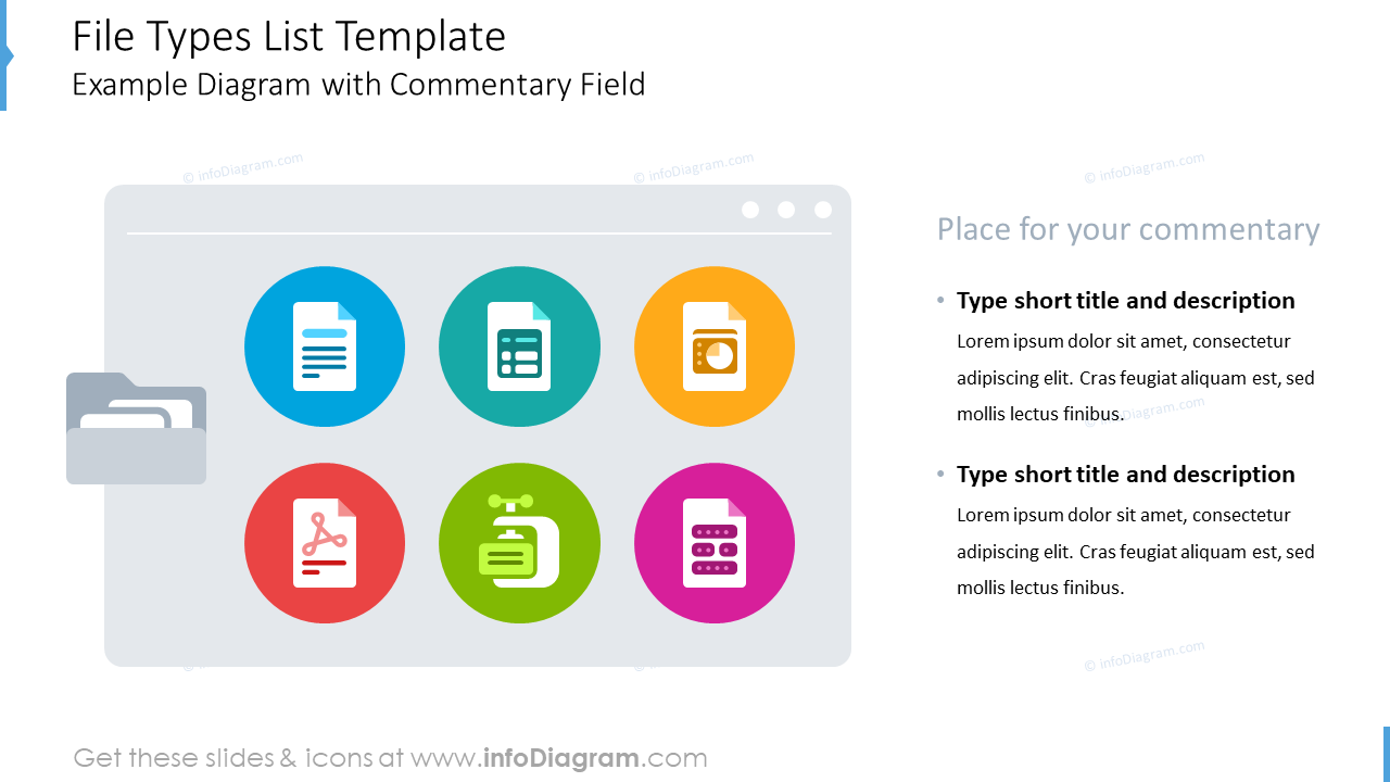 File types list template slide with commentary field