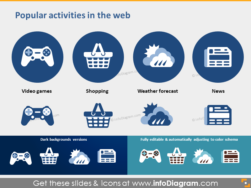 website activity icons game shop weather news pptx clipart