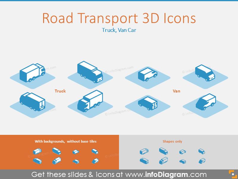 Road Transport 3D Icons: Truck, Van Car