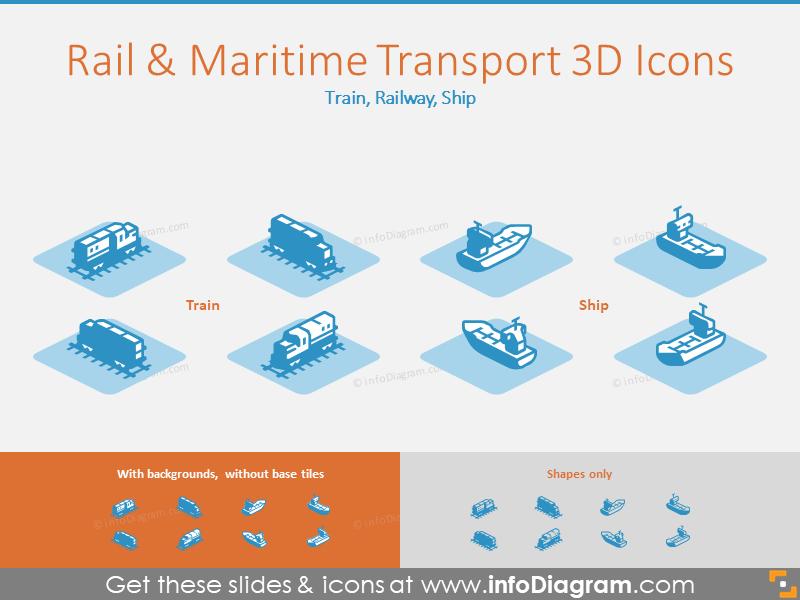 Rail and Maritime Transport 3D Icons: Train, Railway, Ship