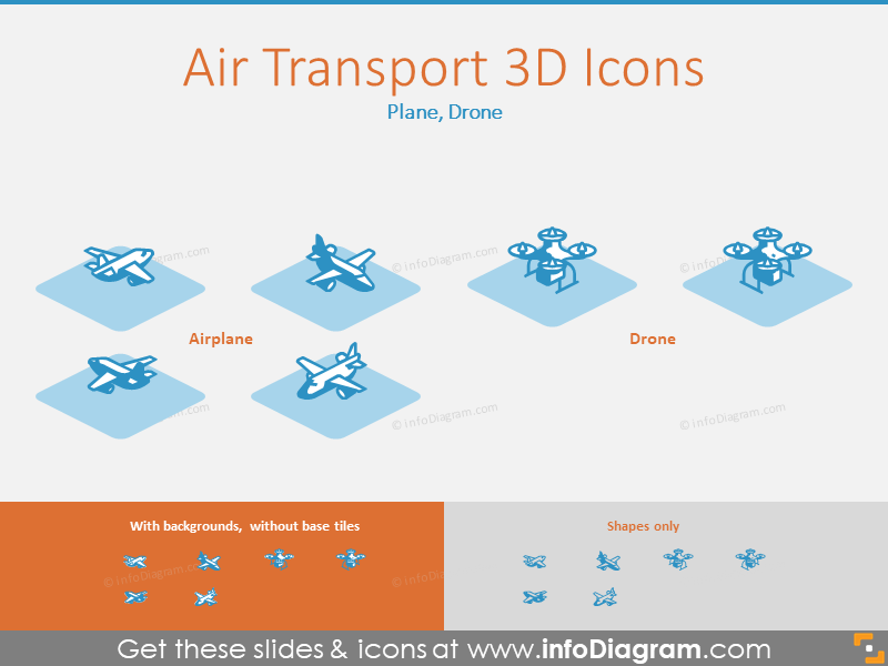 Air Transport 3D Icons