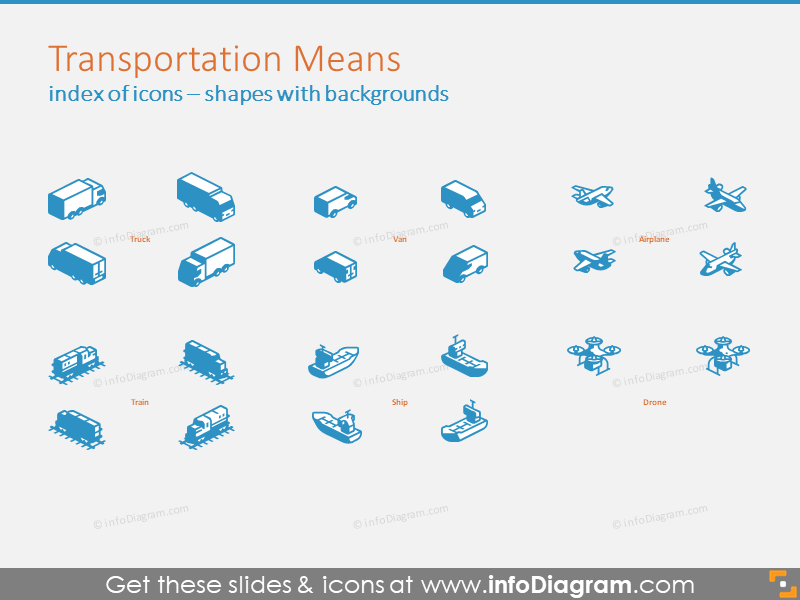 Example of Transportation Means 3D symbols with backgrounds