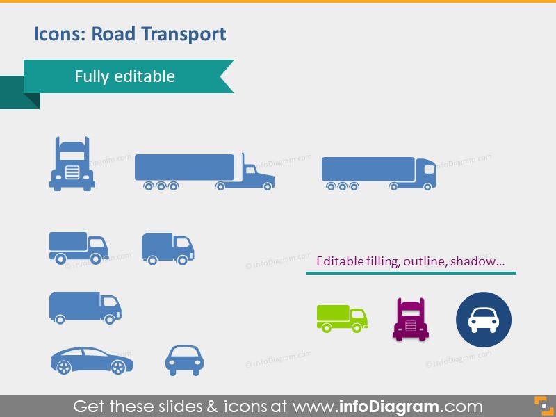 road transport logistics icons truck vehicle car lorry auto