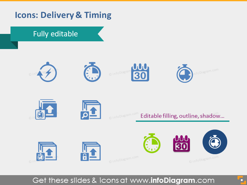 delivery timing terms icons powerpoint clip art pptx