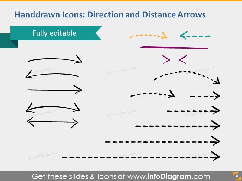 hand drawn arrows direction distance logistics