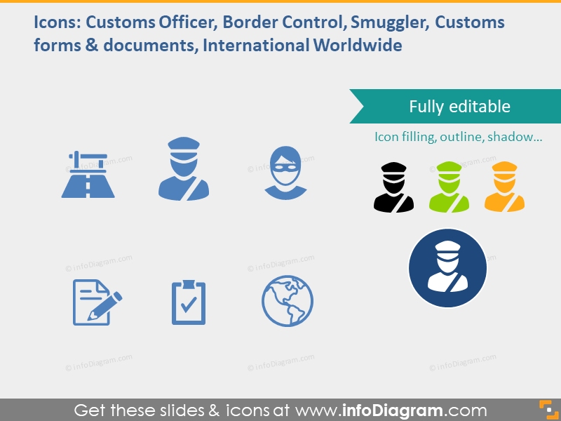 Customer officer, border control, smuggler, customs forms and document