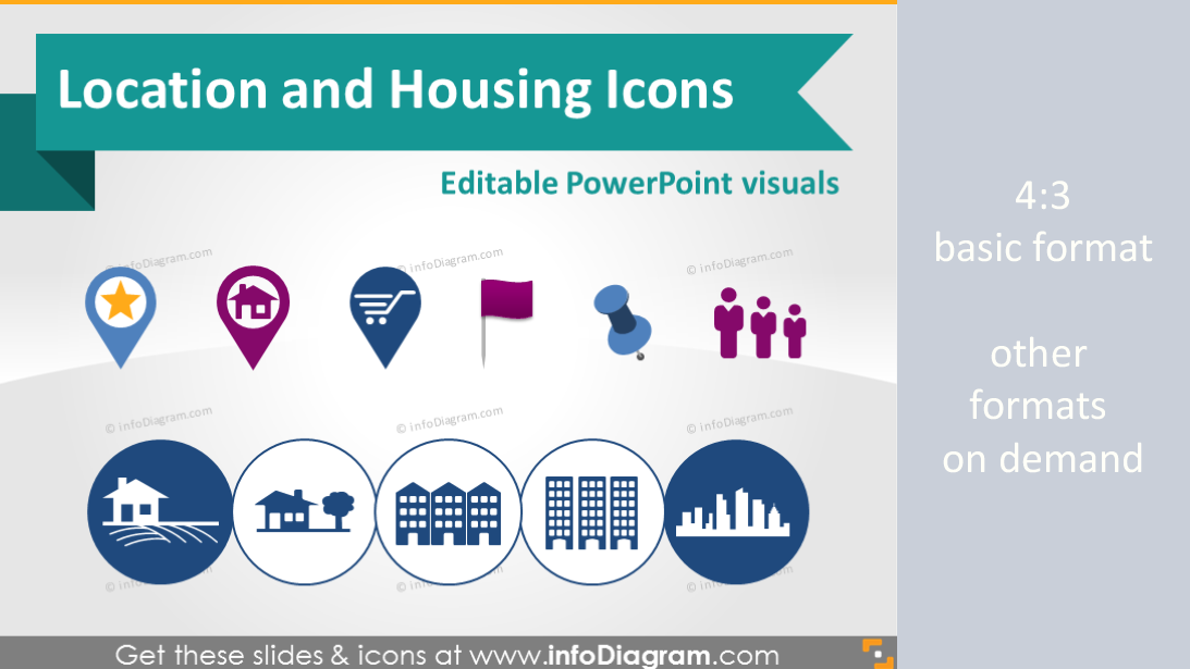 Location Map Marker Building House Logistics Symbols PowerPoint icon