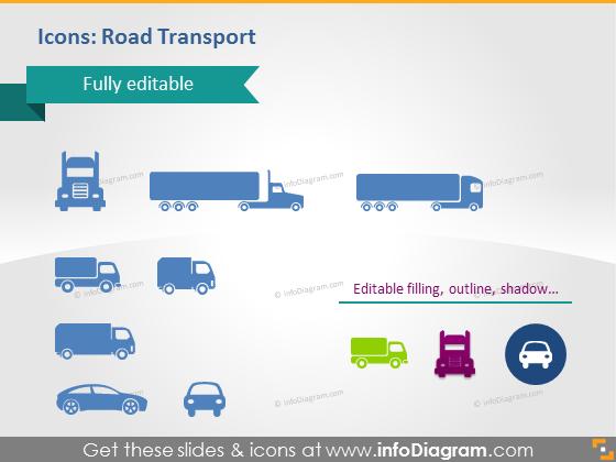 Road transport logistics icons auto car vehicle truck lorry pptx
