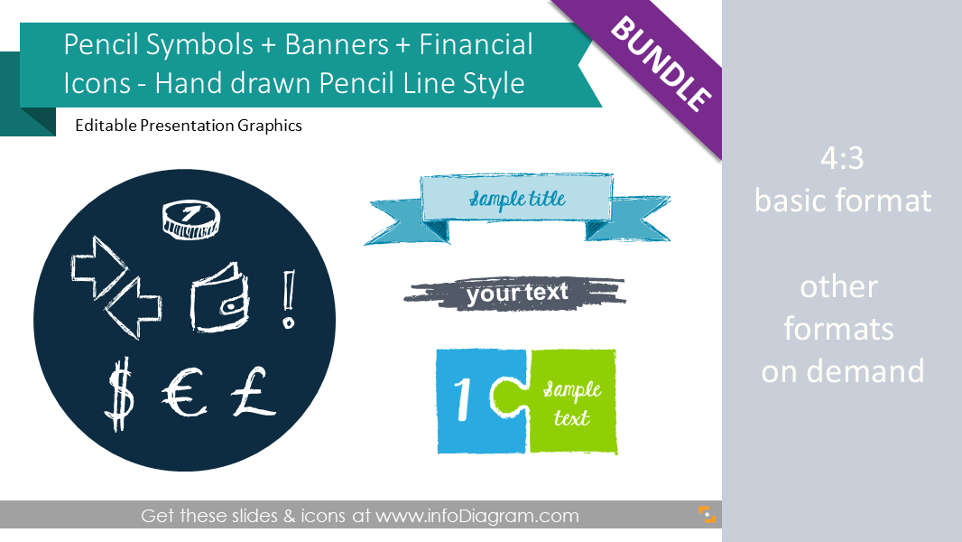 Pencil Sketch Symbols BUNDLE: sales +finance +shapes (PPT icons)