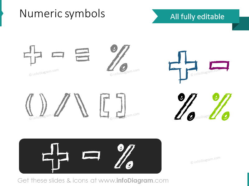 sketch numeric symbols pencil doodle pptx icon