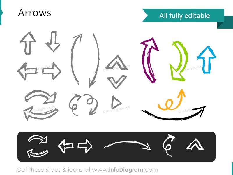 pencil doodle arrows sketch powerpoint icons clipart