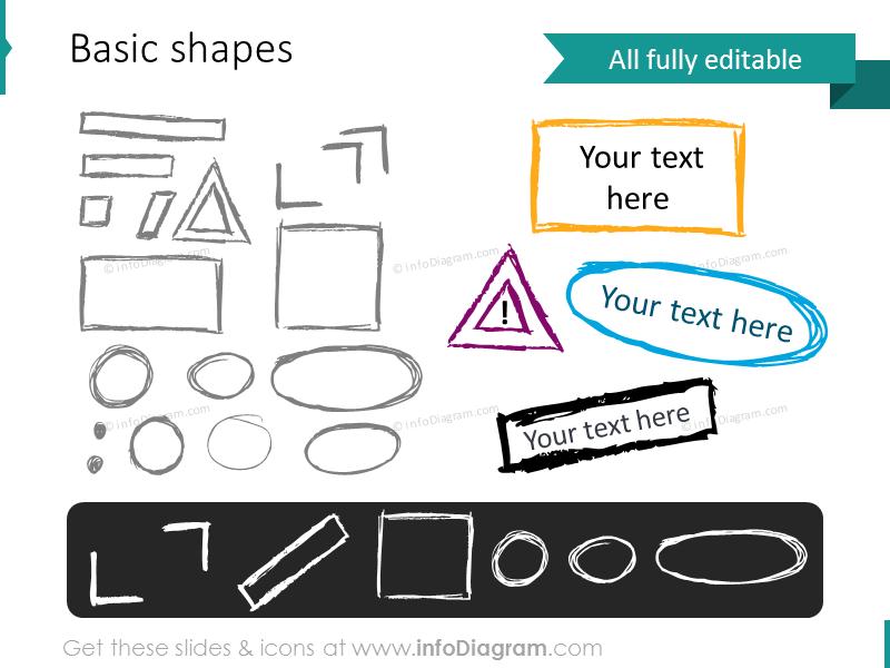 doodle rectangle triangle sketch frame shapes pencil PPT