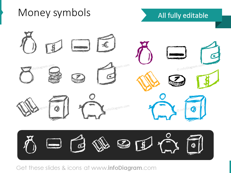 money pictograms doodle coin banknote gold credit card purse vault icons