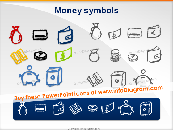 money handdrawn pictograms doodle coin banknote purse vault icons
