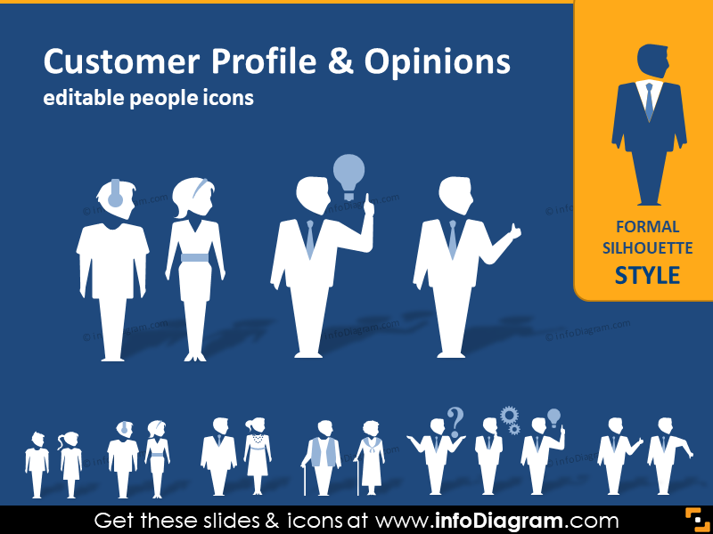 Customer Profile People Silhouettes (PPT icons clipart)