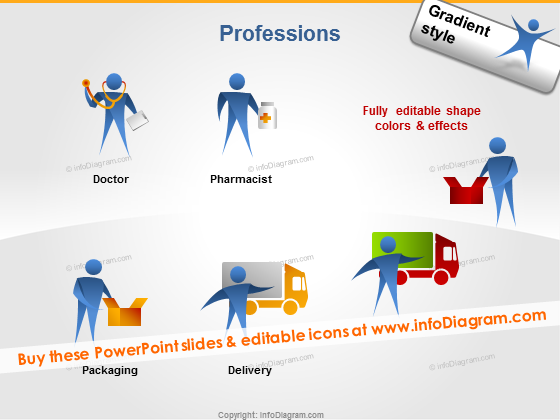 jobs icon ppt doctor pharmacist delivery man