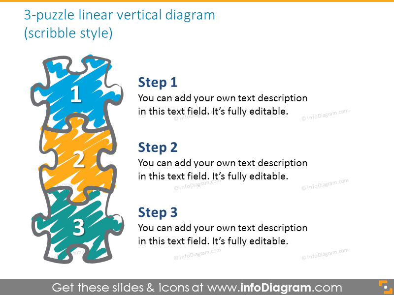 jigsaw puzzle vertical 3 steps diagram hand scribble ppt clipart