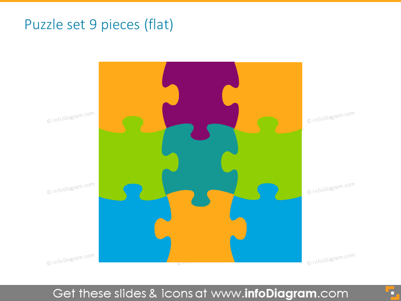 sketched puzzle diagrams parts powerpoint clipart 2 by 4