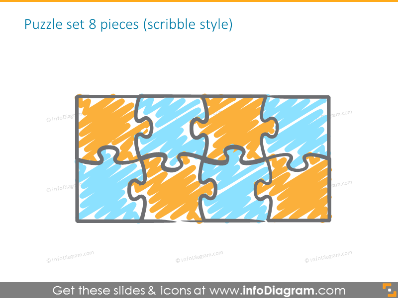 puzzle sketch diagrams powerpoint clipart 3 by 4