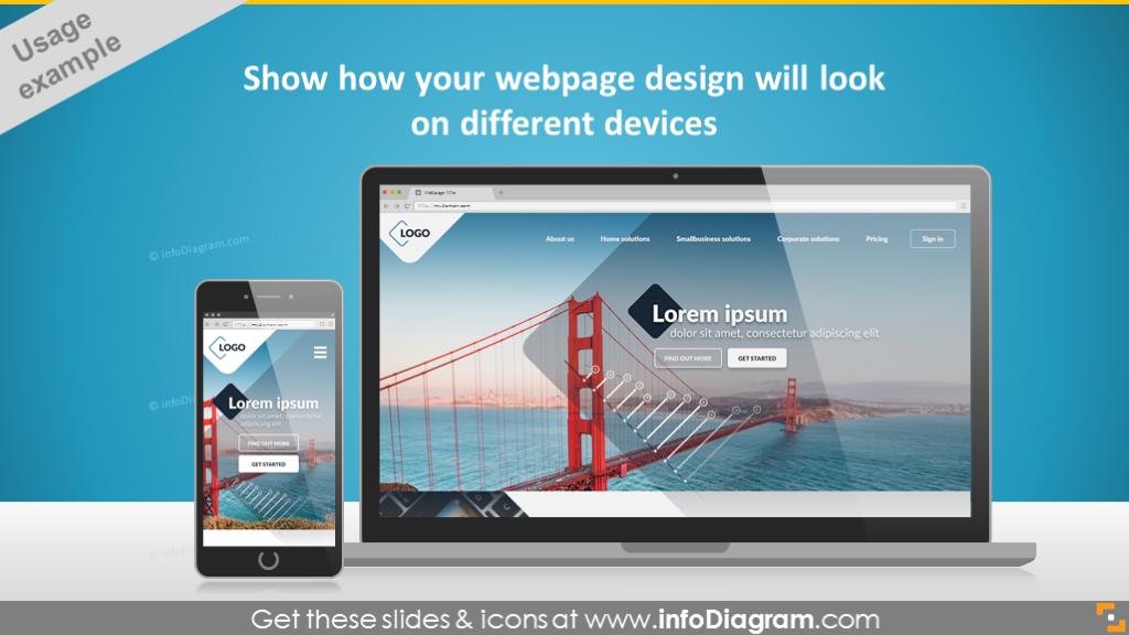 smart phone display mockup powerpoint desktop pc laptop webpage