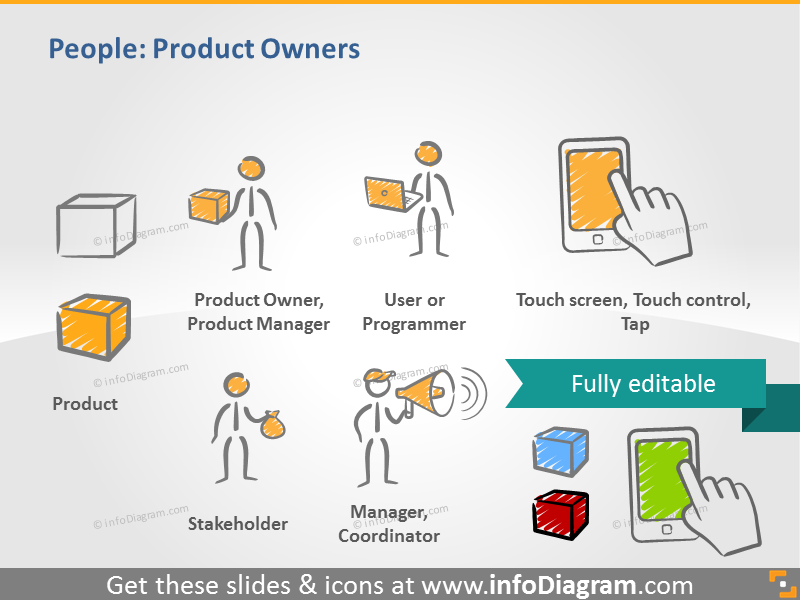 sketch drawn people manager stakeholder touch PPT icons