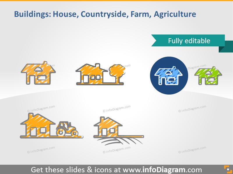 house pictogram countryside farm scribble icon