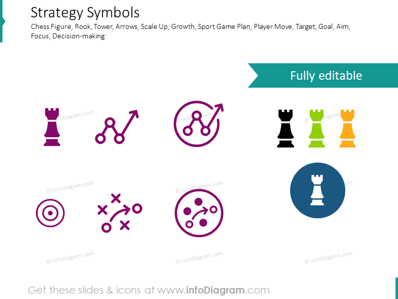 Strategy symbols, line graohs and target icons
