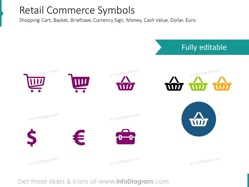 Commerce symbols shopping cart retail