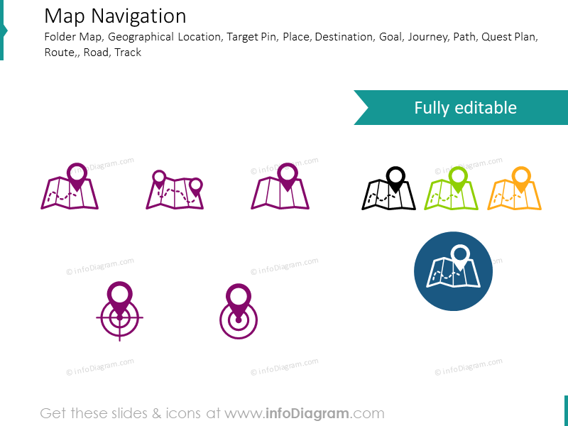 Navigation, map, location, target icons for powerpoint