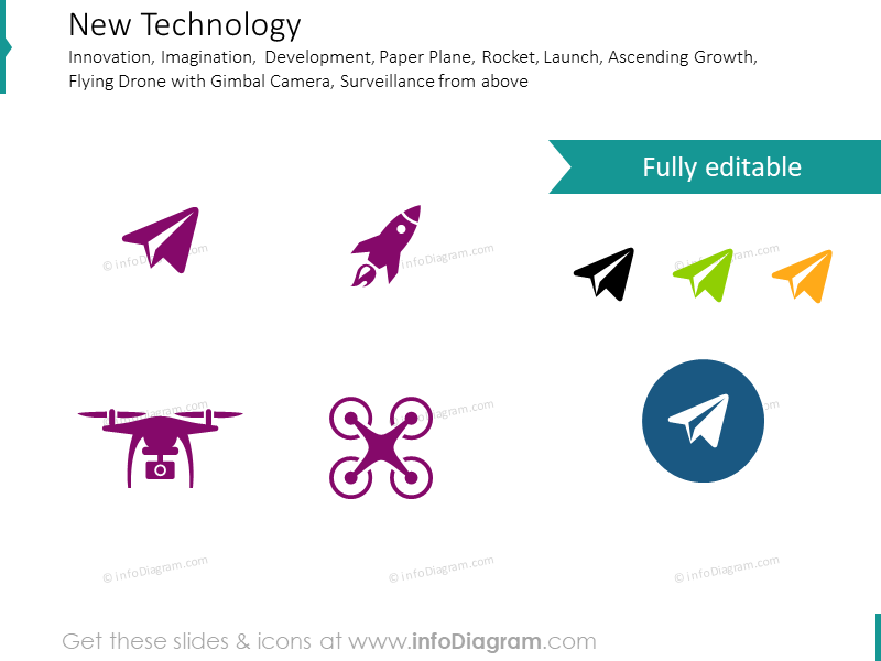 New technology, development, rocket, plane, drone