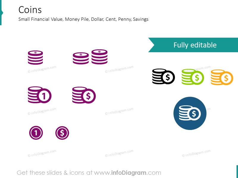 Money related symbols: money pile, coins