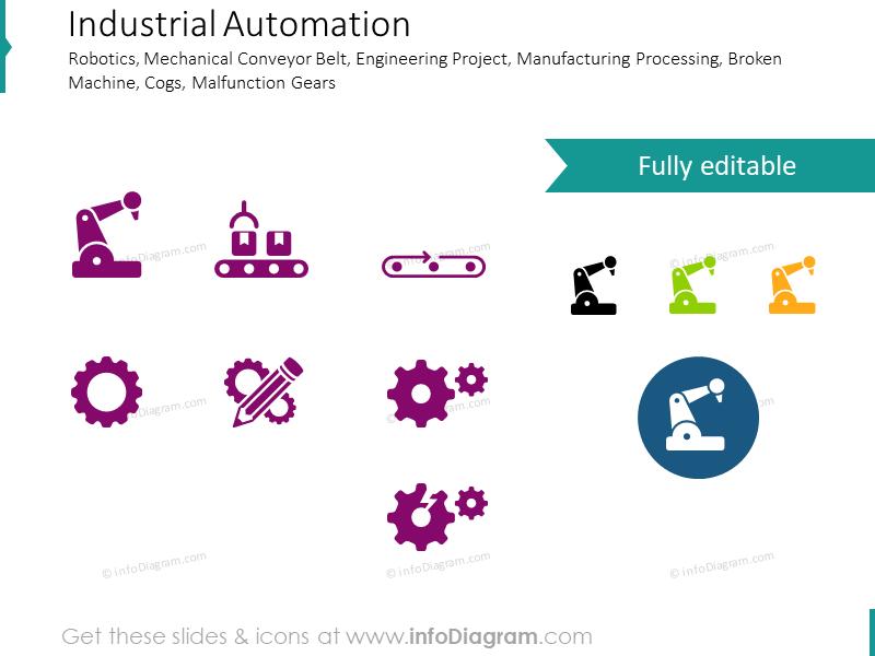 Robotics, Automation, Conveyor Belt, Engineering Project icons