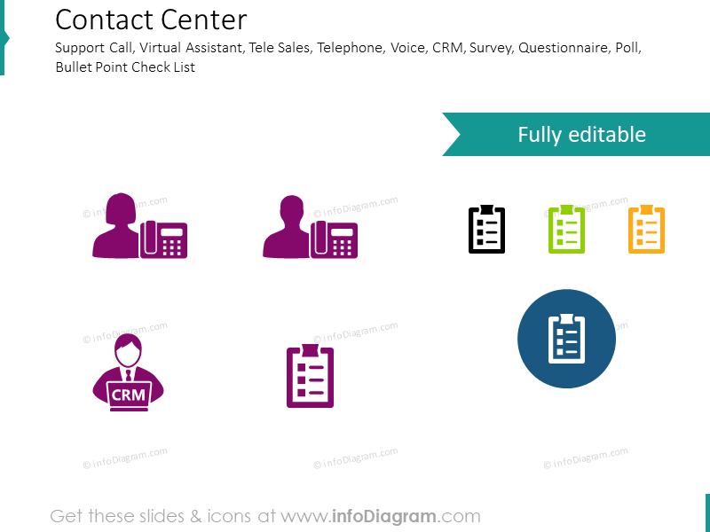 Contact Center, Support Call, Virtual Assistant, Tele sales, CRM icons