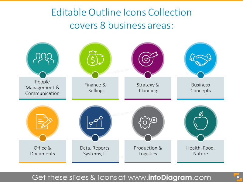 8 business areas outline icons collection