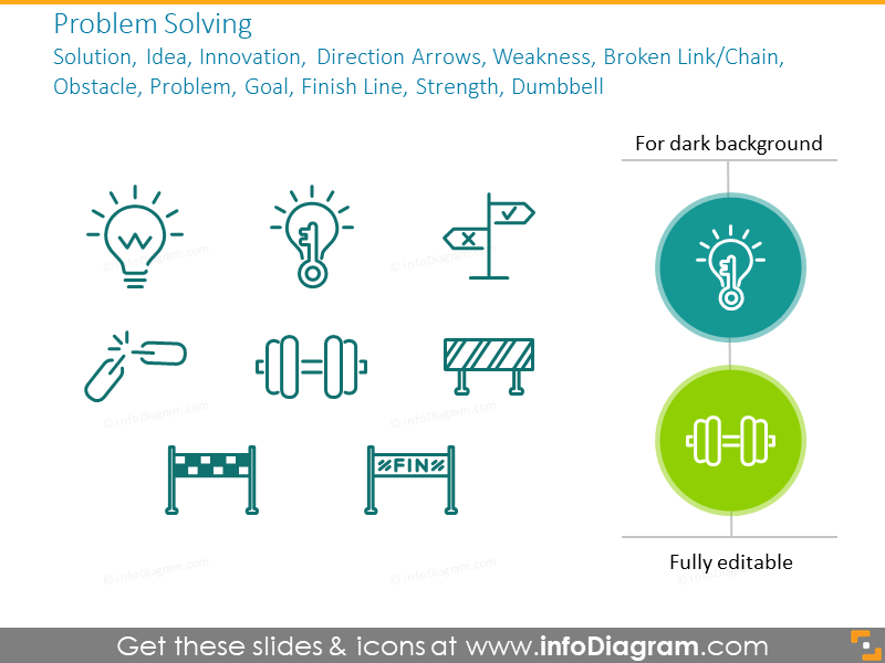 Problem solving: solution, idea, innovation, direction arrows