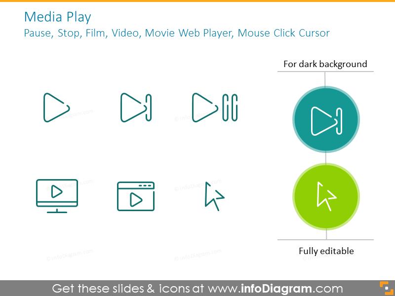 Media play:pause, stop, film, video